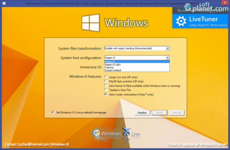 Windows 8 Transformation Pack System font configuration