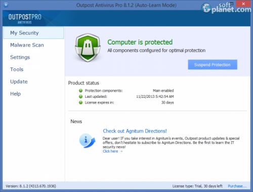 Agnitum Outpost Antivirus Pro 9.0 Build 4537.6