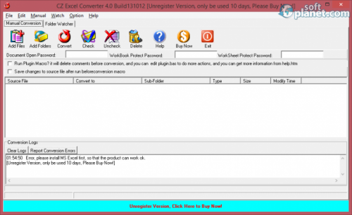 CZ Excel Converter 4.0 Build 130902