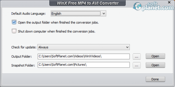 WinX Free MP4 to AVI Converter Screenshot4