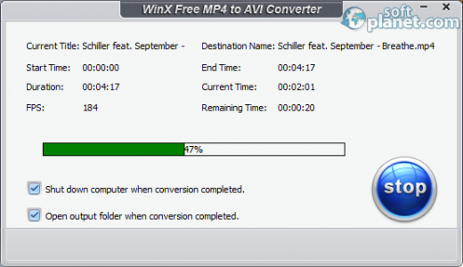 WinX Free MP4 to AVI Converter Screenshot3
